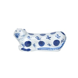 Gato de Cerâmica Azul e Branco