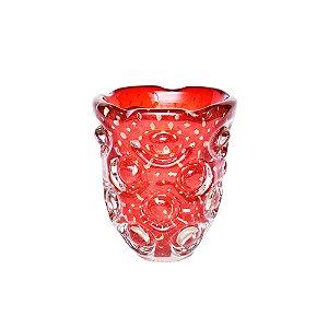 Vaso Vermelho com Detalhes Dourados em Murano