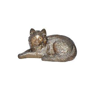 Gato de Cerâmica Dourado Escuro