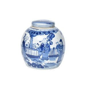 Potiche Cerâmica Azul e Branco