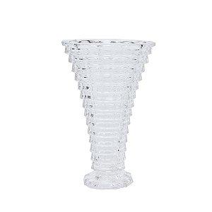 Vaso Vidro Transparente e Trabalhado