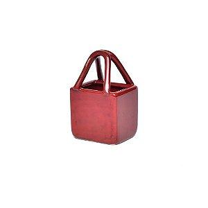 Bolsa de Cerâmica Quadrada Vermelha