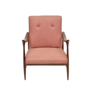 Cadeira Armação de Madeira com Tecido Vermelho