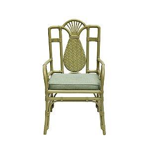 Cadeira Bambú Celadon e Assento Tecido Verde