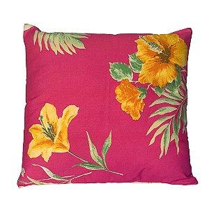 Almofada Pink Hibisco Amarelo