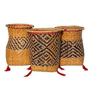 Conjunto de 3 Cestos Indígenas em Palha