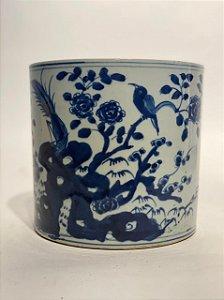 Vaso Azul e Branco Chinês em Cerâmica