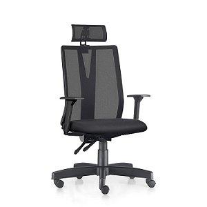 Cadeira Ergonômica Frisokar Addit Presidente, Base Metálica, Rodinha em Nylon e Pistão Classe 3