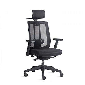 Cadeira Ergonômica Frisokar SONG Presidente, Base Nylon, Rodinha em PU Anti Risco e Pistão Classe 3