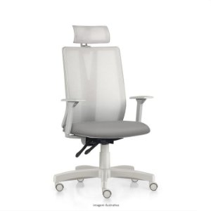 Cadeira Ergonômica Frisokar Addit Presidente CINZA, Base Metálica, Rodinha em Nylon e Pistão Classe 3