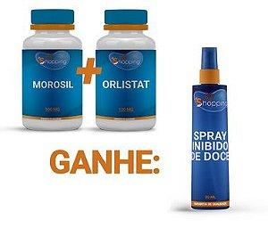 KIT 1 Pote de Orlistat + 1 Pote de Morosil e Ganhe 1 Spray Inibidor de Doce - Bioshopping