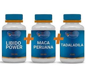KIT 1 Pote de Tadalafila + 1 Pote de Libido Power + 1 Pote de Maca Peruana - BioShopping