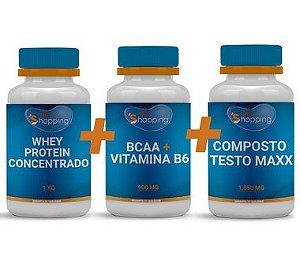 KIT 1 Pote de Testo Maxx + 1 Pote de BCAA, Vitamina B6 + 1 Pote de Whey Protein Concentrado - Bioshopping