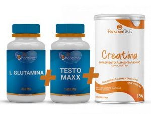 KIT 1 Pote de L Glutamina + 1 Pote de Composto Testo Maxx + 1 Pote de Creatina - Bioshopping