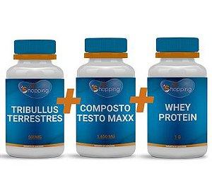 KIT 1 Pote do Composto Testo Maxx + 1 Pote de Tribullus Terrestris + 1 Pote de Whey Protein - Bioshopping