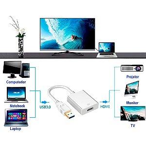 Cabo Adaptador Conversor Usb X Hdmi 1080p Placa Multi Telas