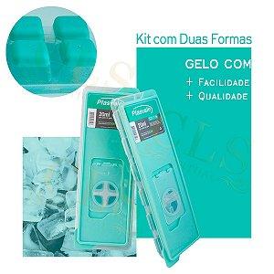 Kit com Duas 02 Formas De Gelo Com Tampa Fundo De Silicone Prática 26cm Plasvale Enche Fácil
