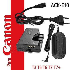 Fonte Ack-e10 Adaptador Ac P/ Canon Canon EOS Rebel T3 T5 T6 T7 T7+ 1100D 1200D 1300D 2000D Kiss X50 X70 X80 X90 Adaptador Substitui Bateria para lives Streaming Studio