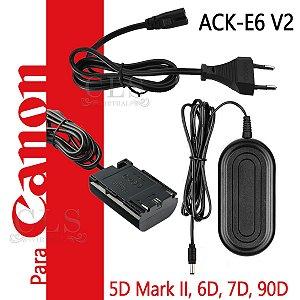 Fonte Ack-e6 V2 Adaptador Ac P/ Canon 70d 80d 5d Mark Iv 5ds 90D , 6D , 6D Mark II, 7D, 7D Mark II Fonte de Alimentação Substitui Bateria para lives Streaming Studio , Para Cameras Canon DSLR