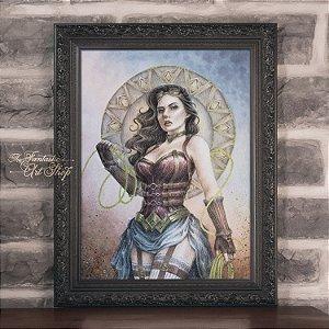 PRÉ-VENDA | Mulher Maravilha Steampunk | Gravura Fine Art • Pintura aquarela A2, arte geek, decoração geek