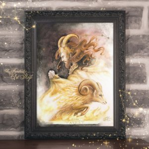PRÉ-VENDA | Aries | Gravura Fine Art • Pintura aquarela A2, arte signos Áries, decoração mitológica, arte fantástica