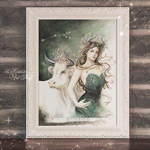 PRÉ-VENDA | Taurus | Gravura Fine Art • Pintura aquarela A2, arte signos Touro, decoração mitológica, arte fantástica