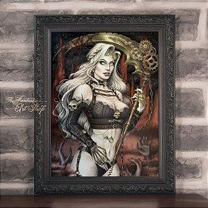 PRÉ-VENDA | Lady Death Steampunk | Gravura Fine Art • Pintura aquarela A2, arte geek, decoração geek