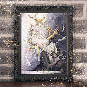 PRÉ-VENDA | Gemini | Gravura Fine Art • Pintura aquarela A2, arte signos Gêmeos, decoração mitológica, arte fantástica
