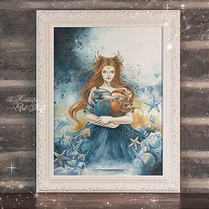 PRÉ-VENDA | Cancer | Gravura Fine Art • Pintura aquarela A2, arte signo de Câncer, decoração mitológica, arte fantástica