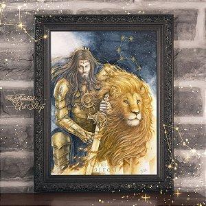 PRÉ-VENDA | Leo | Gravura Fine Art • Pintura aquarela A2, arte signo de Leão, decoração mitológica, arte fantástica