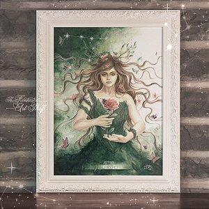 PRÉ-VENDA | Virgo | Gravura Fine Art • Pintura aquarela A2, arte signo de Virgem, decoração mitológica, arte fantástica