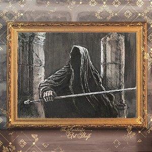 Amon Sûl | Gravura de alta qualidade • Pintura em nanquim A3, arte fantástica, ilustração O Senhor dos Anéis