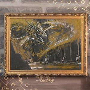 Smaug Dourado | Gravura de alta qualidade • Pintura em nanquim A3, arte fantástica, ilustração O Hobbit, pintura dragão