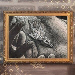 Estrela Vespertina | Gravura de alta qualidade • Pintura em nanquim A3, arte fantástica, ilustração O Senhor dos Anéis