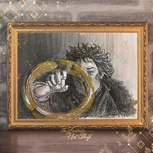O Um Anel | Gravura de alta qualidade • Pintura em nanquim A3, arte fantástica, ilustração O Senhor dos Anéis