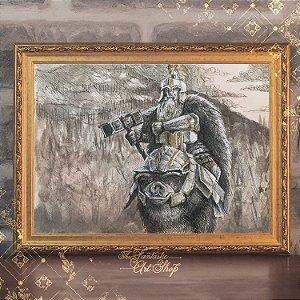 Dain Pé de Ferro| Gravura de alta qualidade • Pintura em nanquim A3, arte fantástica, ilustração O Hobbit