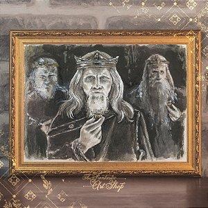 Anéis de Poder | Gravura de alta qualidade • Pintura em nanquim A3, arte fantástica, ilustração O Senhor dos Anéis