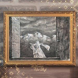 Saruman | Gravura de alta qualidade • Pintura em nanquim A3, arte fantástica, ilustração O Senhor dos Anéis