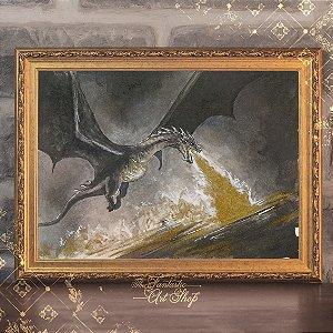 Cidade do Lago | Gravura de alta qualidade • Pintura em nanquim A3, arte fantástica, ilustração O Hobbit