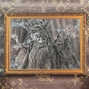 Barbárvore | Gravura de alta qualidade • Pintura em nanquim A3, arte fantástica, ilustração O Senhor dos Anéis