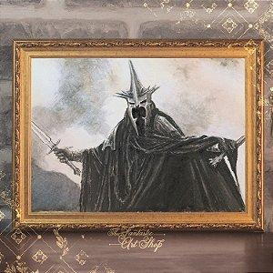Rei Bruxo de Angmar | Gravura de alta qualidade • Pintura em nanquim A3, arte fantástica, ilustração O Senhor dos Anéis