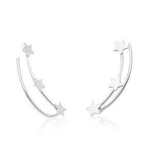Brinco Ear Cuff Três Estrelas - Prata 925