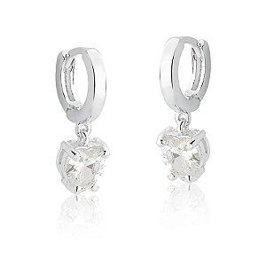 Brinco Argola Click com Coração de Cristal - Prata 925