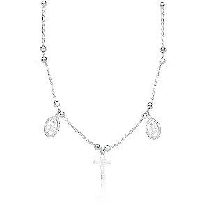 Colar Cruz e Medalha de Jesus Cristo com Bolinhas - Prata 925