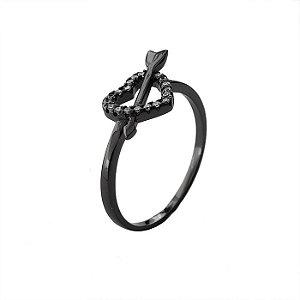 Anel Coração Cravejado Ródio Negro - Prata 925