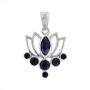Pingente Lotus Com Pedra Azul Marinho - Prata 925