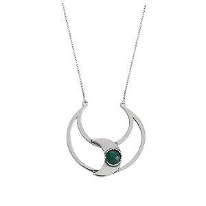 Maxi Colar Lua Com Pedra Verde- Prata 925