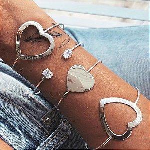 Bracelete Coração De Lado - Prata 925