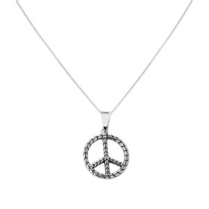 Colar Peace Trança - Prata 925