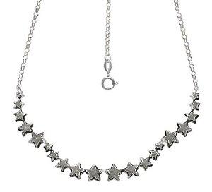 Colar 20 Estrelas Estampadas - Prata 925